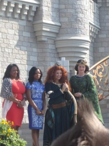 Merida with Queen Elinor, Olympian Gabby Douglas and her mom.