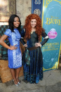 "Gymnastics gold medalist Gabby Douglas attends a regal celebration to welcome the newest princess, the brave and passionate Merida, from Disney∙Pixar's ""Brave,"" to the Disney Princess royal court May 11, 2013, at Cinderella Castle in Magic Kingdom at Walt Disney World Resort in Lake Buena Vista, Fla."