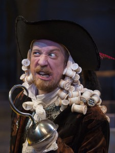 The fearsome Captain Hook (James Konicek) in PETER PAN AND WENDY at Imagination Stage. Photo Credit:  Margot Schulman