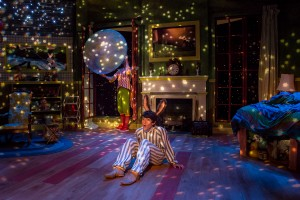 The lovely set of Adventure Theatre MTC's Good Night Moon. Actors: Sam Edgerly and Colin Cech. Photo Credit: Mike Horan