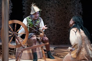 Rumpelstiltskin (Matthew Pauli) demands a very high price from the Miller's Daughter (Katherine Turner) before he can spin the rest of the straw into gold in RUMPELSTILTSKIN at Imagination Stage