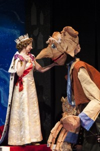 The Queen of England (Susan Lynskey) honors the BFG (James Konicek) for his courage in THE BFG at Imagination Stage. Photo Credit: Imagination Stage