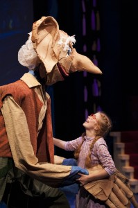 The BFG (James Konicek) and Sophie (Megan Graves) celebrate friendship and bravery in THE BFG at Imagination Stage through August 10. Photo Credit: Imagination Stage