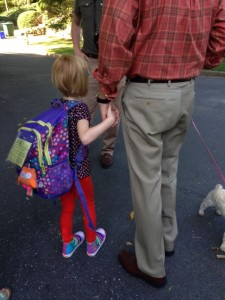 Getting ready to board the bus on the first day of Kindergarten. My tears were flowing.