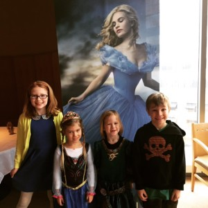 Princess Anna, Princess Merida and their siblings...ready for the Cinderella screening!